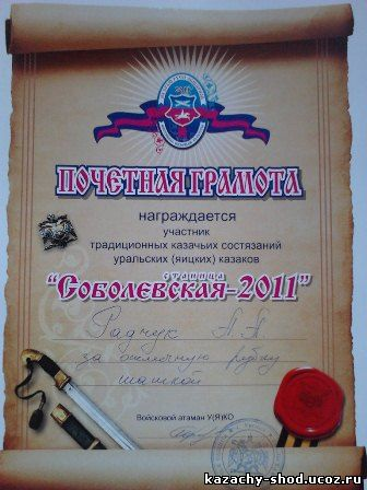традиционных казачих состязаний, рубку шашкой,соболевская 2012