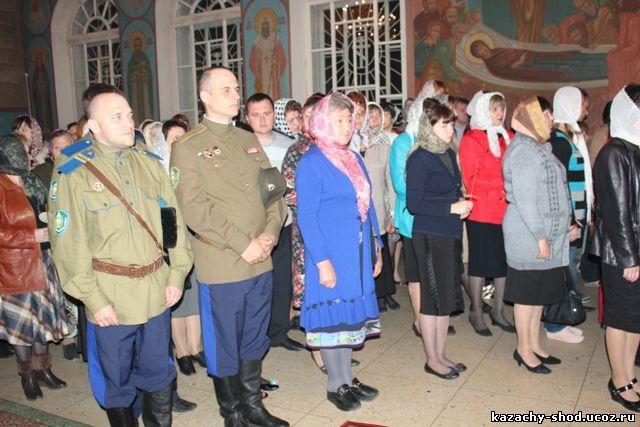 Казаки Бузулукской казачьей общины в Никольском кафедральном соборе города Бузулука